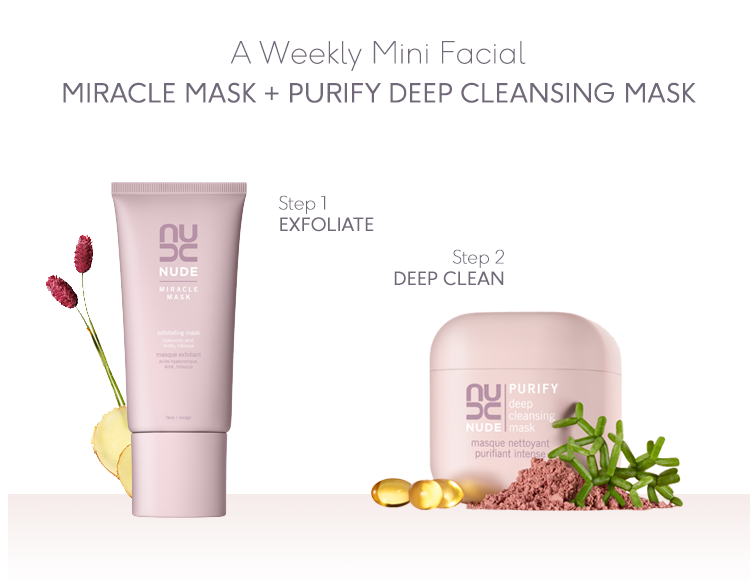 It Takes Two: Miracle Mask + Purify Deep Cleansing Mask | NUDE Skincare
